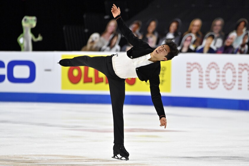 FILE - Nathan Chen of the United States competes during the men's short program of the International Skating Union Grand Prix of Figure Skating Series in Las Vegas, in this Friday, Oct. 23, 2020, file photo. Chen will be the headliner at the U.S. Figure Skating Championships that begin Thursday, Jan. 14, 2021, in Las Vegas, Mariah Bell could be the scene stealer. (AP Photo/David Becker, FIle)