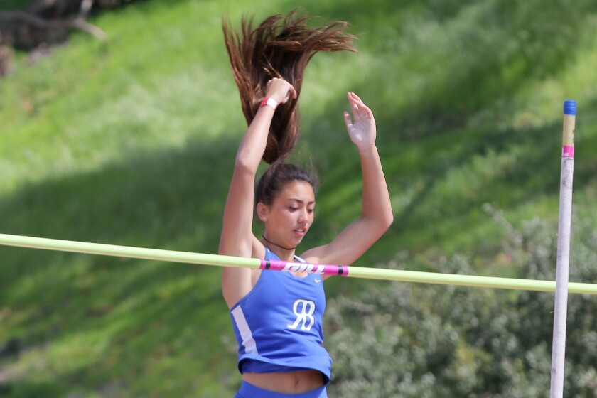 Rancho Bernardo High School's Ashley Callahan clears a height early in the pole vault competition.