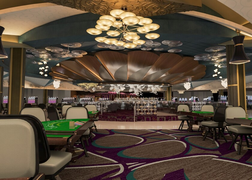 Morongo Casino Resort & Spa is adding 65,000 square feet as part of its expansion and will increase the gaming floor by 30 percent, adding 800 slots and table games, plus new bar and lounge areas. A rendering shows the casino's elegant new design.