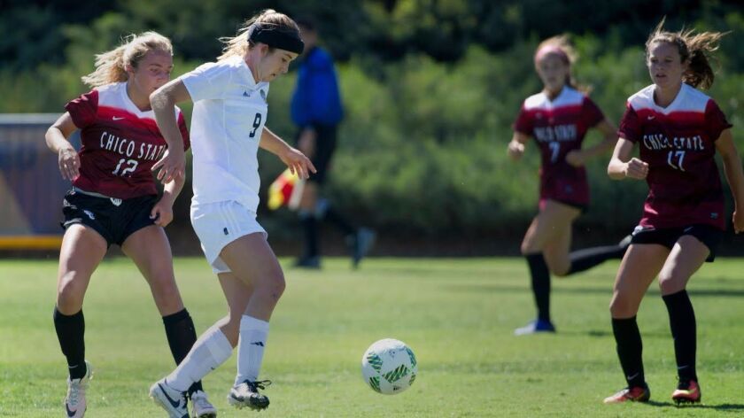 It took UC San Diego's Katie O'Laughlin all of 27 seconds to score her initial goal of the season.
