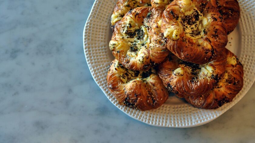 The za'atar croissants at Proof Bakery. (Amy Scattergood / Los Angeles Times)