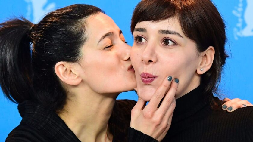 "Turkish director Ceylan Ozgun Ozcelik, left, and Turkish actress Algi Eke in Berlin for the 67th Berlinale film festival where the film ""Kaygi"" (""Inflame""). screened in February 2017."