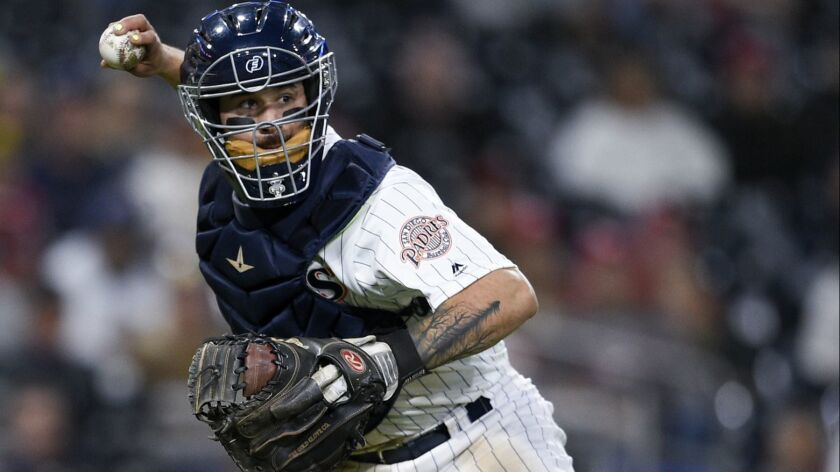 San Diego Padres catcher Raffy Lopez in action during the 13th inning of a baseball game against the