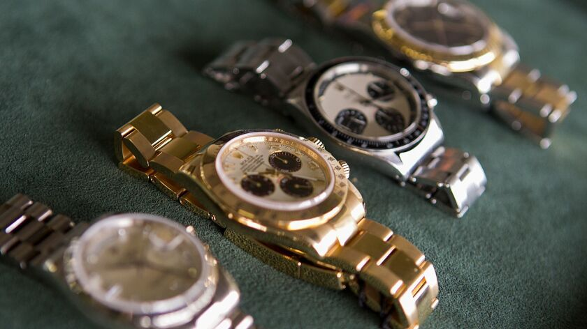 Several Rolex watches at Bob's Watches in Huntington Beach.