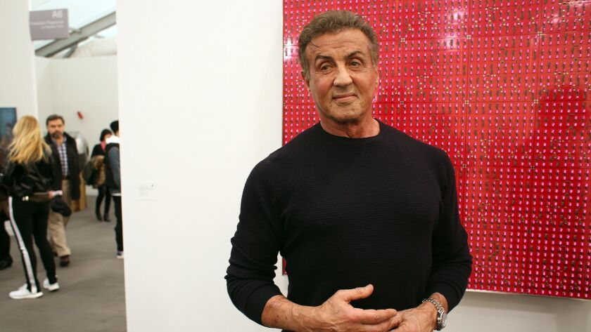 LOS ANGELES, CA-FEBRUARY 14, 2019: Actor Sylvester Stallone stands for a portrait in front of an art