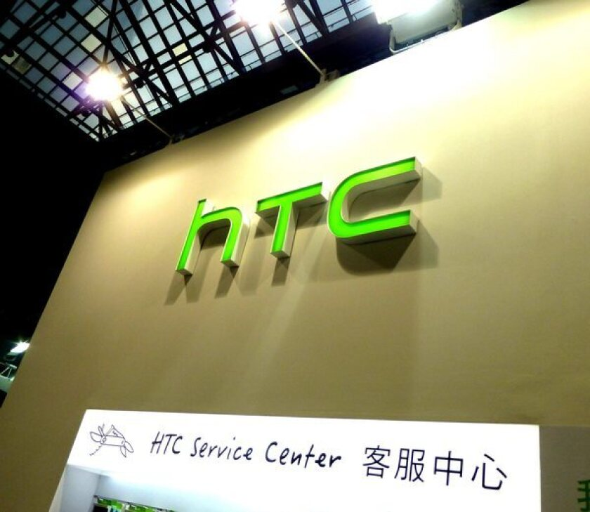 HTC's logo at the 2013 Taipei Computer Application Show in Taiwan. HTC is said to be working on a smartwatch.