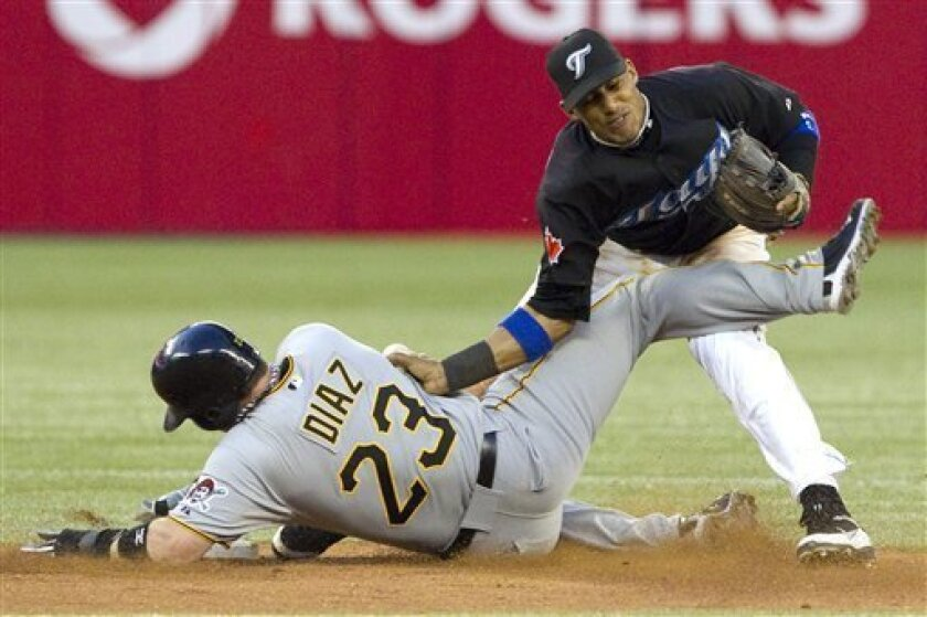 Pittsburgh Pirates' Matt Diaz, left, collides with Toronto Blue Jays second baseman Yunel Escobar to break up a potential double play in the seventh inning of interleague baseball game action in Toronto, Thursday, June 30, 2011. (AP Photo/The Canadian Press, Darren Calabrese)