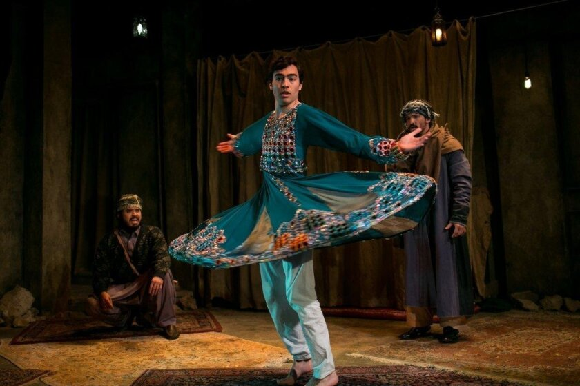 """M. Keala Mills Jr., left, as Zemar, Troy Iwata as Paiman and Koray Tarhan as the Unknown Man in Diversionary Theatre's world premiere musical """"The Boy Who Danced on Air."""""""