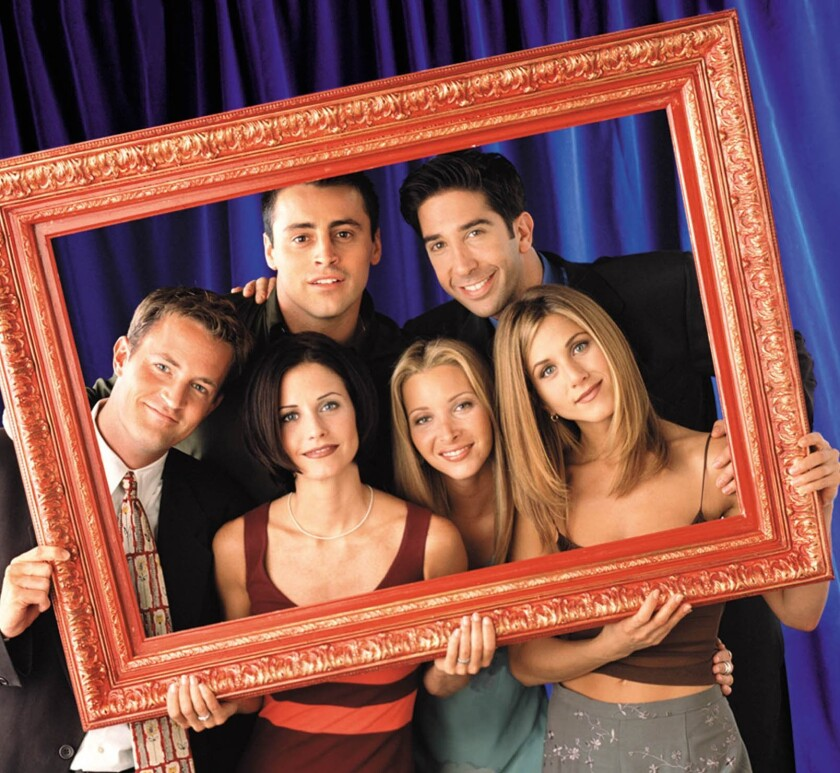 "Matt LeBlanc, clockwise, David Schwimmer, Jennifer Aniston, Lisa Kudrow, Courteney Cox and Matthew Perry in a photo from their days on the NBC sitcom ""Friends."""