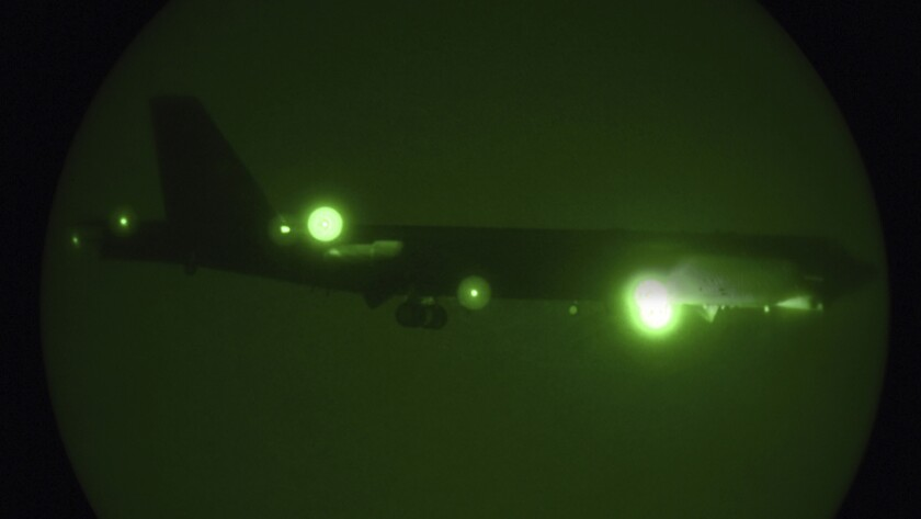 In this Thursday, May 9, 2019 photo released by the U.S. Air Force, a B-52H Stratofortress assigned
