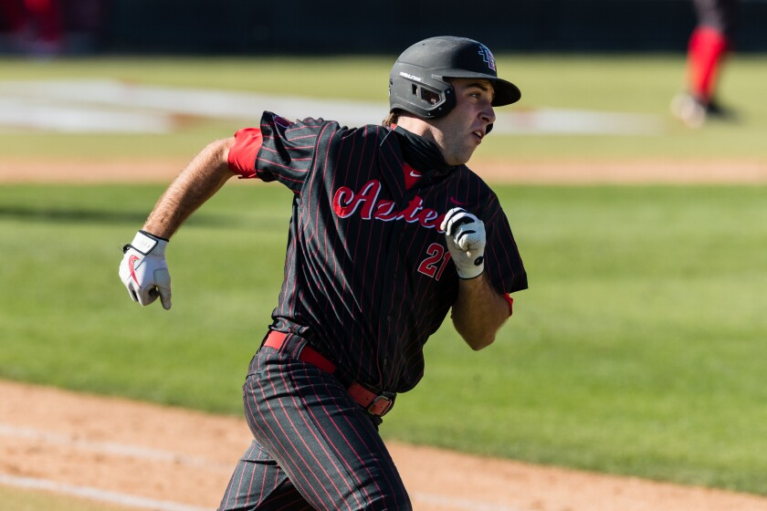 Brian Leonhardt, shown during Friday's game, had a clutch hit Saturday to send the contest with USD into extra innings.