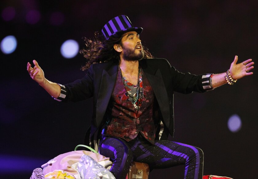 Comedian and actor Russell Brand, shown above performing at the closing ceremony of the 2012 Summer Olympics in London, is embarked on what is likely his most sobering tour to date.