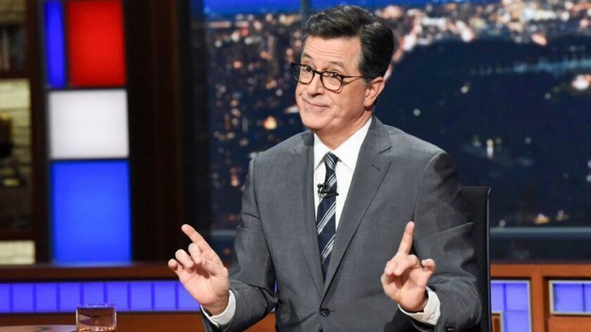 Stephen Colbert, shown Nov. 6, frequently mocks President Trump on his nighttime CBS show.