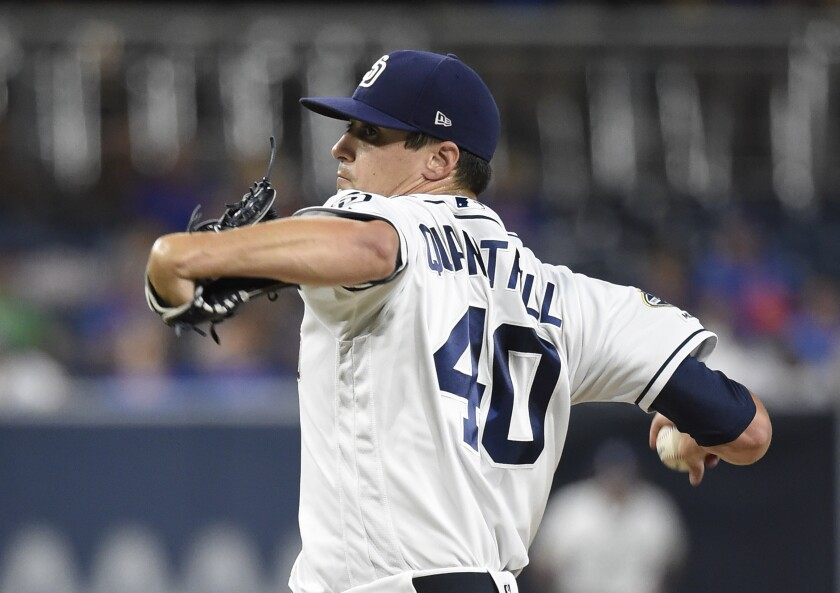 Cal Quantrill of the San Diego Padres pitches during the first inning of a baseball game against the Chicago Cubs at Petco Park September 9, 2019 in San Diego, California.