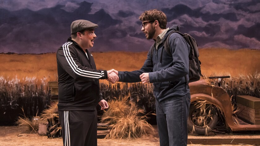 """Matt Wolpe is the Ukrainian tour guide, left, and Jeremy Kahn is a Jewish American digging into family history in Ensemble Theatre Company's """"Everything Is Illuminated."""""""