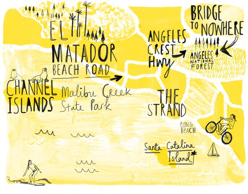 """A map included in """"Los Angeles,"""" a Wildsam Field Guide"""