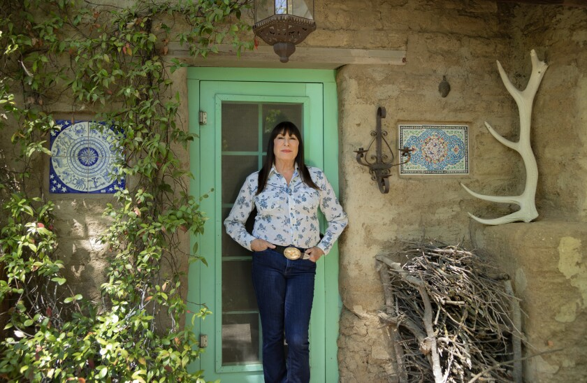 THREE RIVERS, CA - APRIL 23, 2019 - Angelica Huston posing for a portrait at her ranch in Three Rive