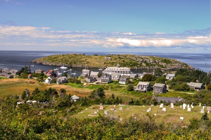 "View of ""downtown"" Monhegan Island and Manana Island"