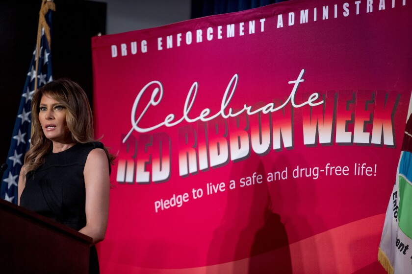 First lady Melania Trump speaks at a Red Ribbon Rally at the Drug Enforcement Agency in Arlington, Va., Monday, Oct. 7, 2019.(AP Photo/Andrew Harnik)