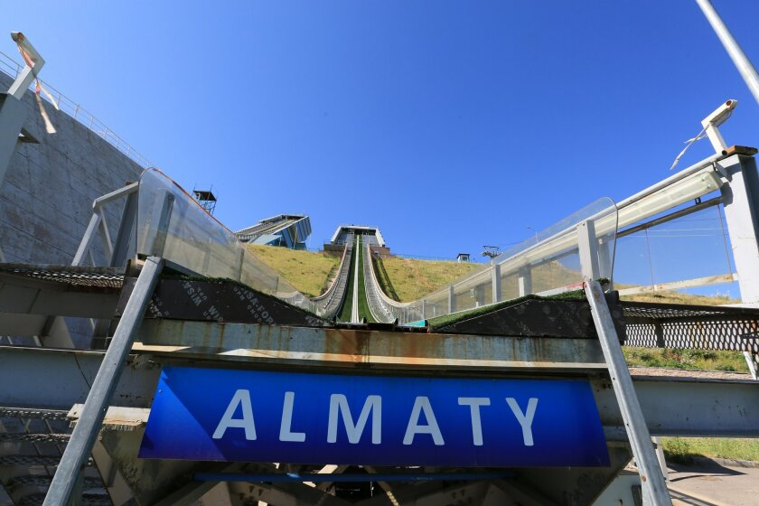 FOR STORY 2022 BID - this photo taken on Wednesday, July 15, 2015, shows the Sunkar International Ski Jumping Complex in Almaty, Kazakhstan. The ex-Soviet nation of Kazakhstan in Central Asia will be the first majority-Muslim country to host an Olympics if Almaty defeats its rival, Beijing, in voting July 31 to select the host venue of the 2022 winter games. (AP Photo/Pavel Mikheyev)