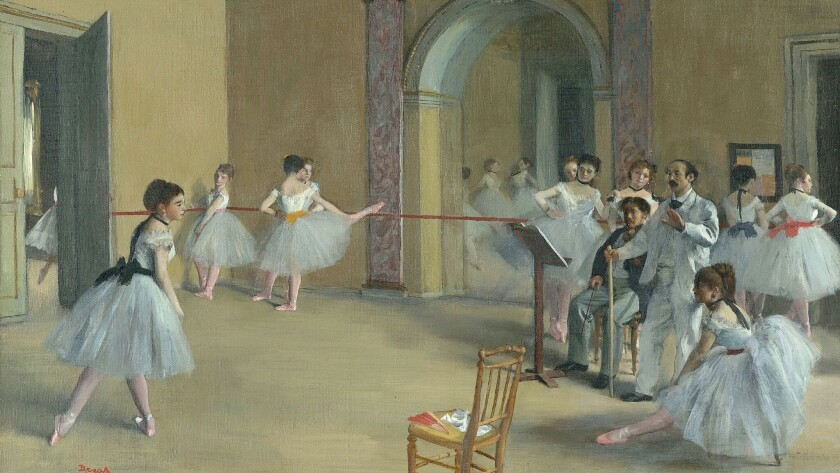 """In this detail from """"Rehearsal hall at the Opera, rue Le Peletier"""" (1872), the ballet master instructs his dancer, much the way Degas controlled his art."""