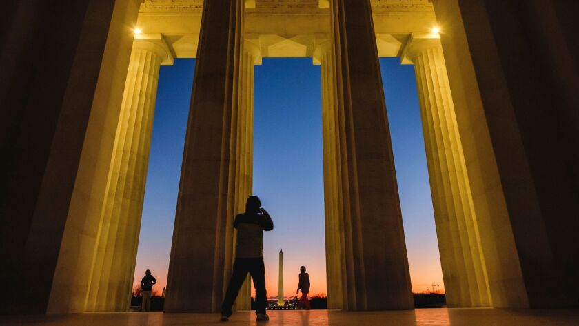 The first sunrise of the new year at the Lincoln Memorial in Washington. The district's residents were deemed the nation's crankiest travelers.
