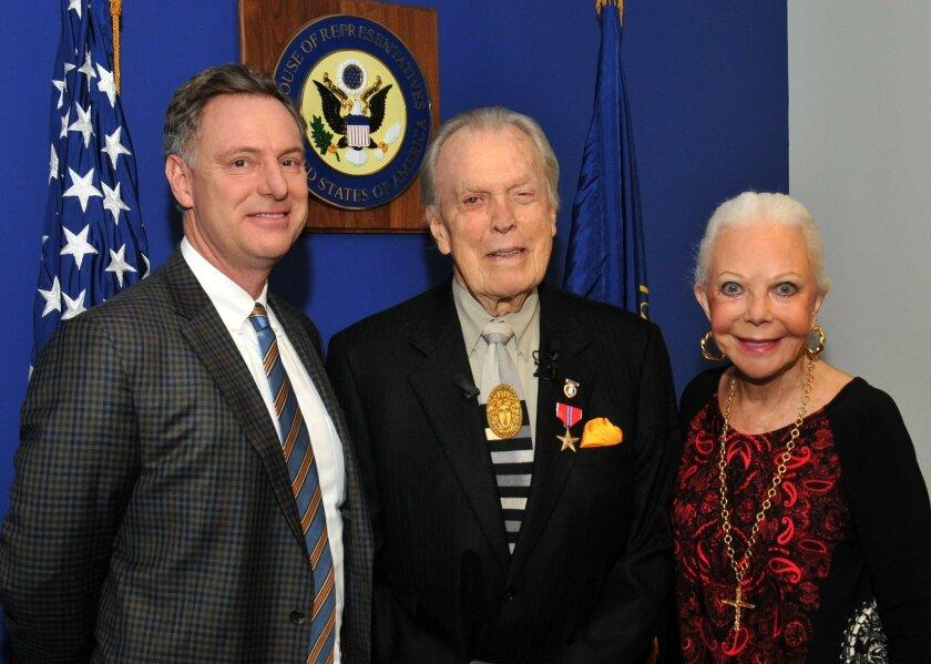 Congressmember Scott Peters, Bronze Star recipient Don Breitenberg of La Jolla, and Don's wife, Jeanne Jones