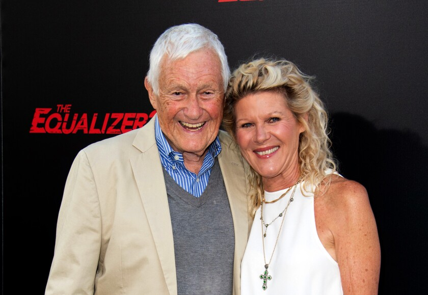 Actor Orson Bean and his wife actress Alley Mills attend The Equalizer 2 Premiere at the TCL Chinese Theater, on July 17, 2018, in Hollywood, California. (Photo by VALERIE MACON / AFP) (Photo credit should read VALERIE MACON/AFP via Getty Images)