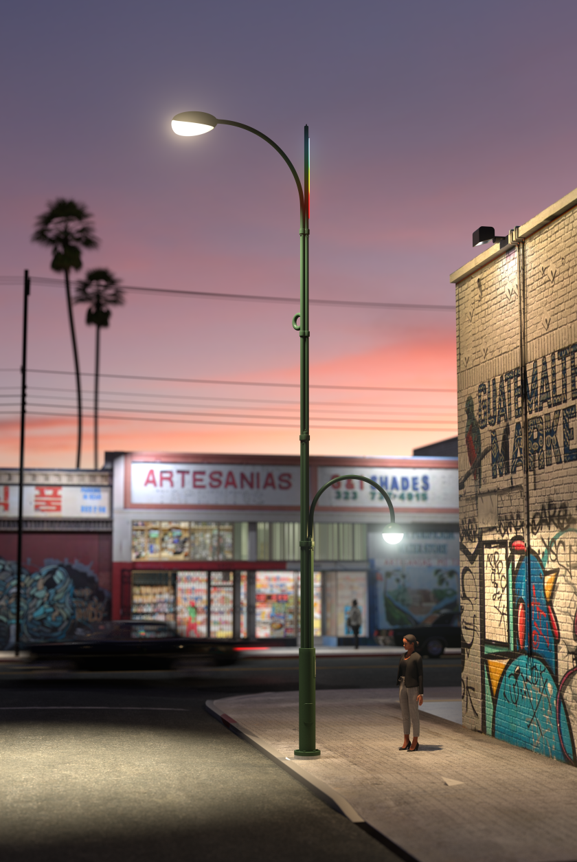 The winning entry in L.A.'s streetlight competition provides one light over the street and a second over the sidewalk.
