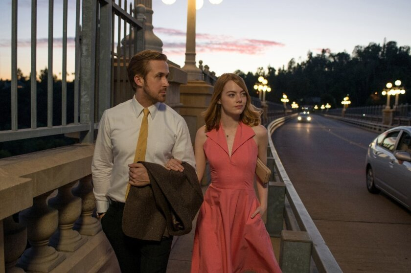 "Ryan Gosling and Emma Stone in ""La La Land."" The movie earned the most Oscar nominations on Tuesday."