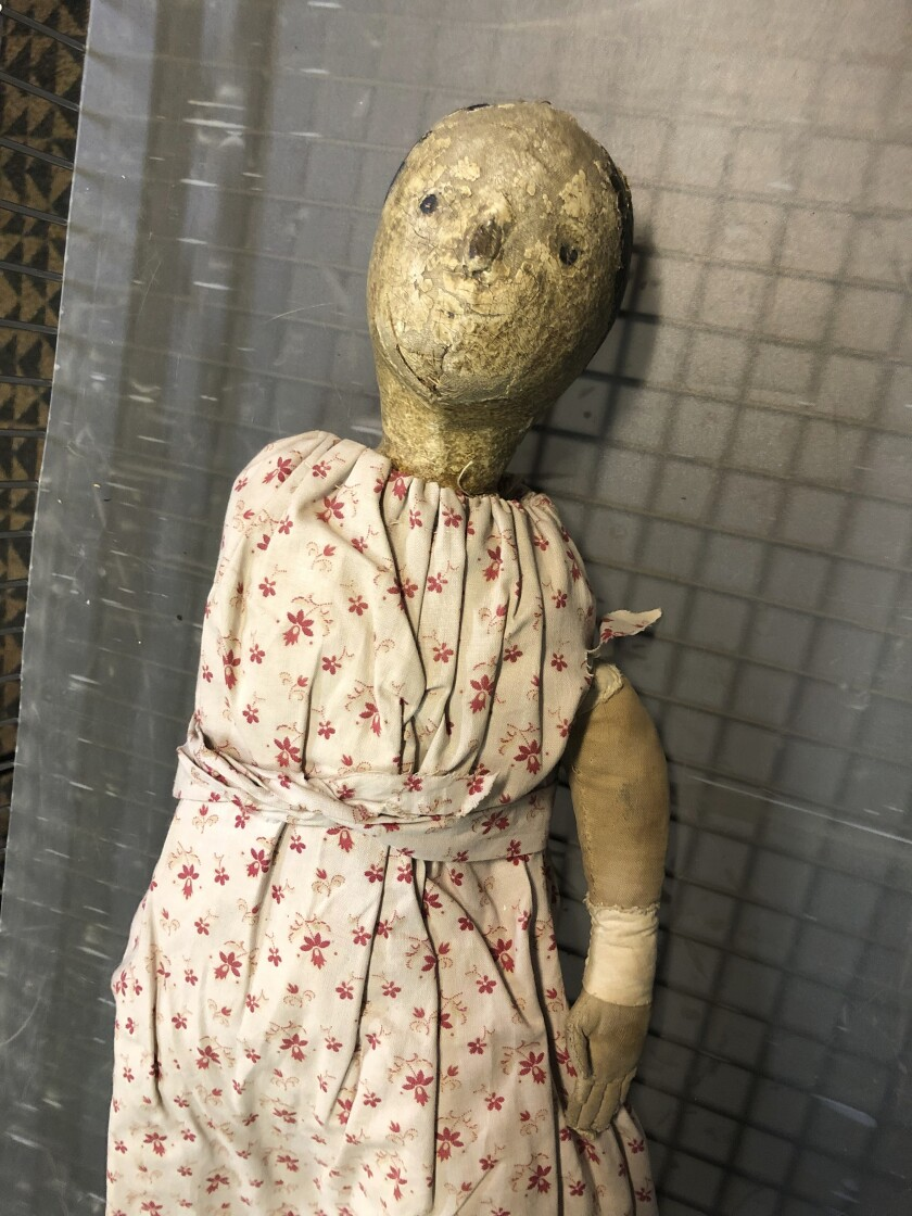 This Friday, Oct. 11, 2019 photo provided by Christine Rule shows a vintage doll that is part of the creepiest dolls collection at the History Center of Olmsted County in Rochester, Minn. The museum has turned its dolls loose just in time for Halloween and has posted photos and videos of its miniature terrors on social media, taking votes for the most nightmarish one. (Christine Rule via AP)