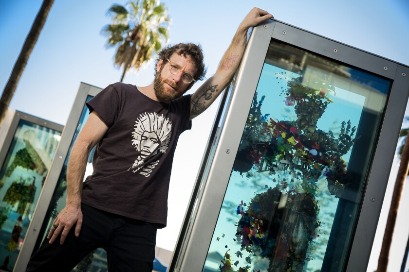 """I'm all about public art, bringing it to the streets, social sculpture,"" Dustin Yellin says. ""I like the bottom-up approach."""