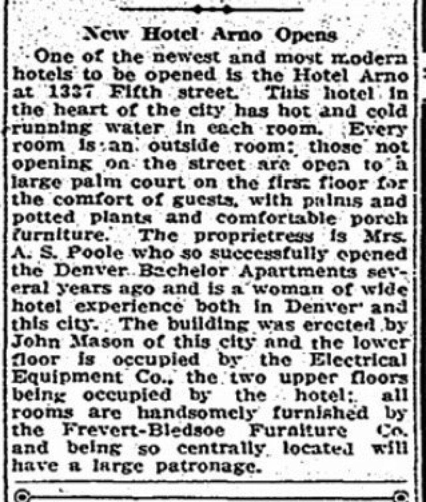 A June 9, 1912, article announcing the opening of the Hotel Arno, original name of the Mason Hotel.