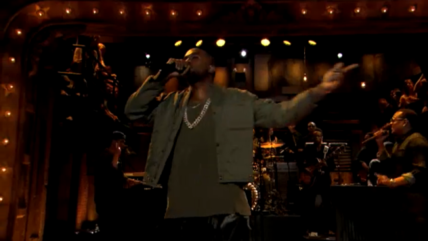 """Kanye West performs on """"Late Night With Jimmy Fallon."""""""
