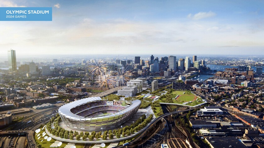 An artist's rendering of a proposed Olympic stadium in Boston that will be built if the city is chosen to host the 2024 Summer Olympic Games.