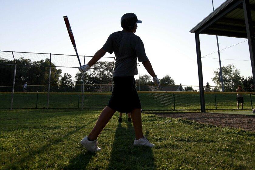 Luke Ramirez, one of the original members of the Park View team, takes batting practice in South Williamsport. (John R. McCutchen / Union-Tribune)