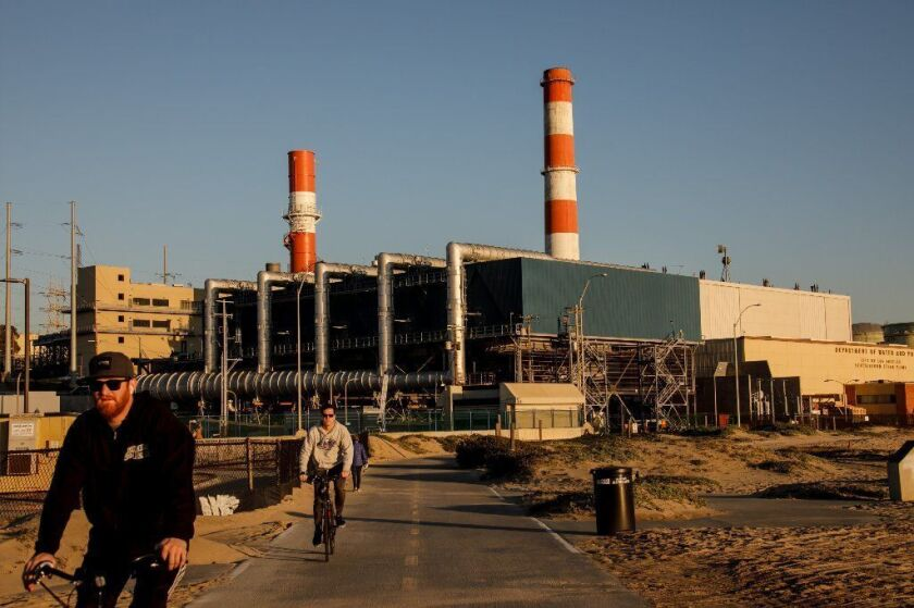 Los Angeles Mayor Eric Garcetti recently abandoned a plan to spend billions of dollars rebuilding three natural gas-fired power plants along the coast, including the Scattergood facility in El Segundo, shown on Feb. 11.
