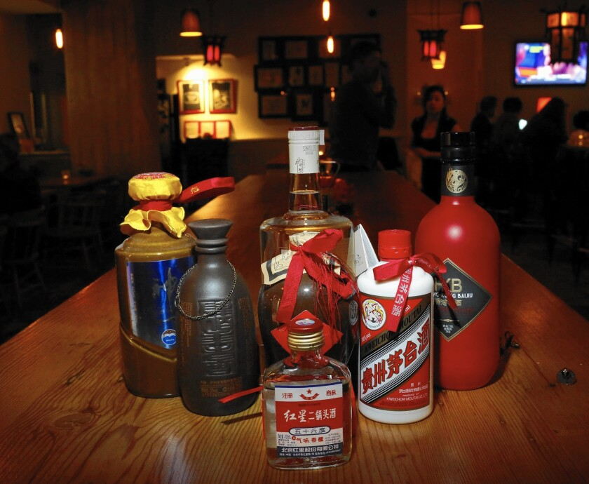 Bottles of baijiu are set out at Peking Tavern in downtown L.A., which keeps a diverse selection on hand.