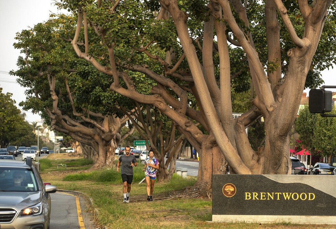 Joggers on San Vicente Boulevard in Brentwood.