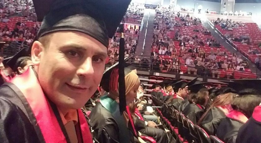 Robin Shahini, 46, at a San Diego State graduation ceremony in May.
