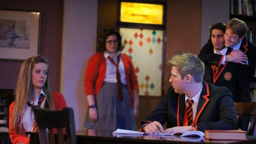 "Samantha Littleford as Cissy, Samantha Vesco as Tanya, Ryan Casselman as Nicholas, Benjamin Cole as Bennett (rear) and David Ahmadian as Chadwick in Ion Theatre's ""Punk Rock."" CREDIT: Ion Theatre"