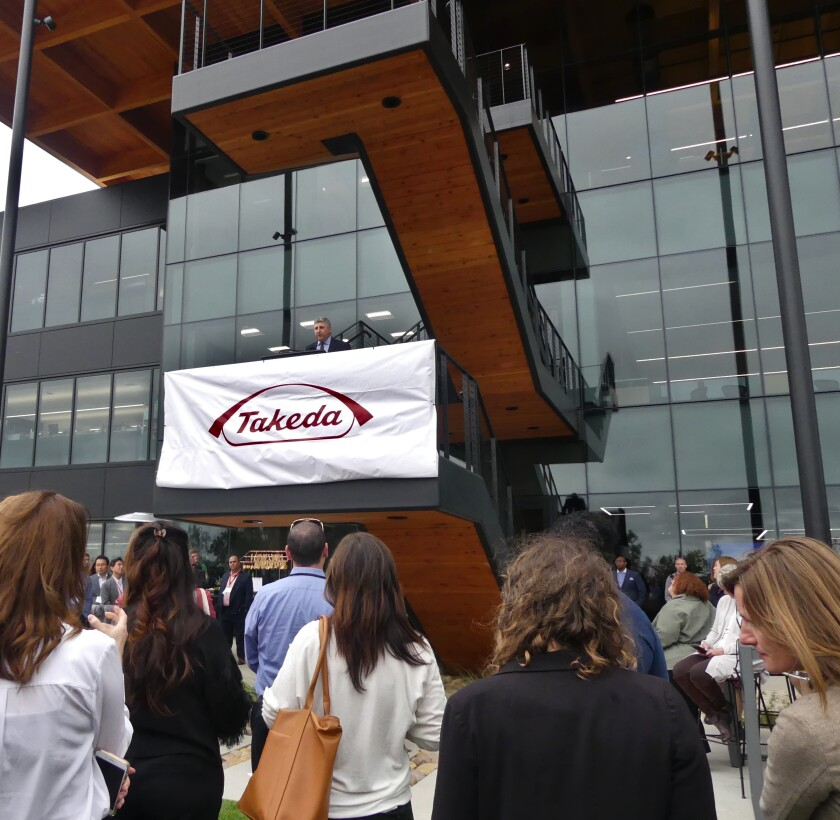 David Weitz, head of Takeda California, speaks at the opening of Takeda's new San Diego campus.