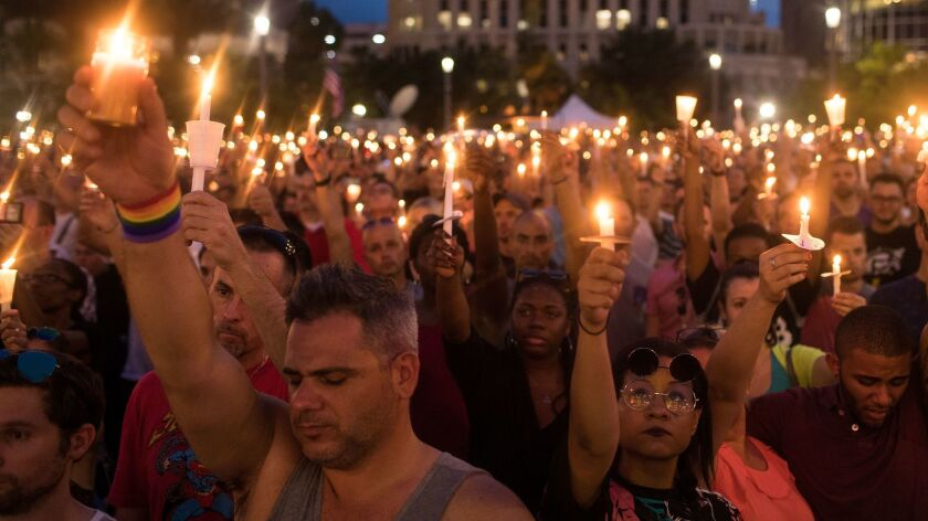 A memorial service for the victims of the Pulse Nightclub shootings in Orlando, Florida.