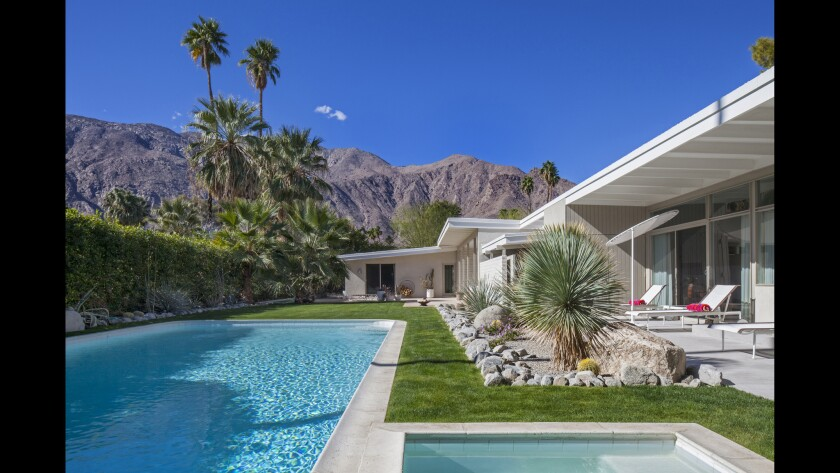 A 1954 home that Donald Wexler designed in Palm Springs for actress Andrea Leeds and her husband, Robert Howard, was unburied from a vaguely Spanish Revival remodel. Removing a 3,000 square foot aluminum pool enclosure opened up the view to the majestic San Jacinto mountains.