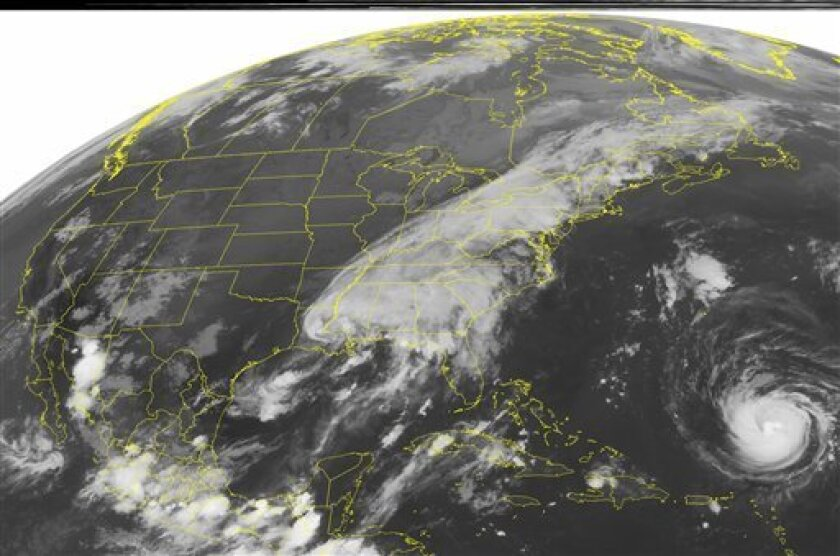 This NOAA satellite image taken Monday, Sept. 5, 2011 at 1:45 a.m. EDT shows widespread clouds from the Northeast through the Southeast as a Tropical Depression spins about 55 mile southwest of McComb, Mississippi and a strong cold fronts approaches the Eastern Seaboard. Maximum sustained winds near 35 mph and higher gusts spread ample tropical moisture northward across the Central Gulf Coast, fueling more soaking rains and thunderstorms in parts of the Southeast. This moisture also interacts with the cold front in the East and fuels numerous band of showers and heavy rainfall along and ahead of the front from parts of the Northeast through the Eastern Valleys. Elsewhere, Category 2 Hurricane Katia is located about 385 miles northeast of the northern Leeward Islands. Katia is moving toward the northwest near 13 mph with maximum sustained winds near 105 mph. (AP PHOTO/WEATHER UNDERGROUND)