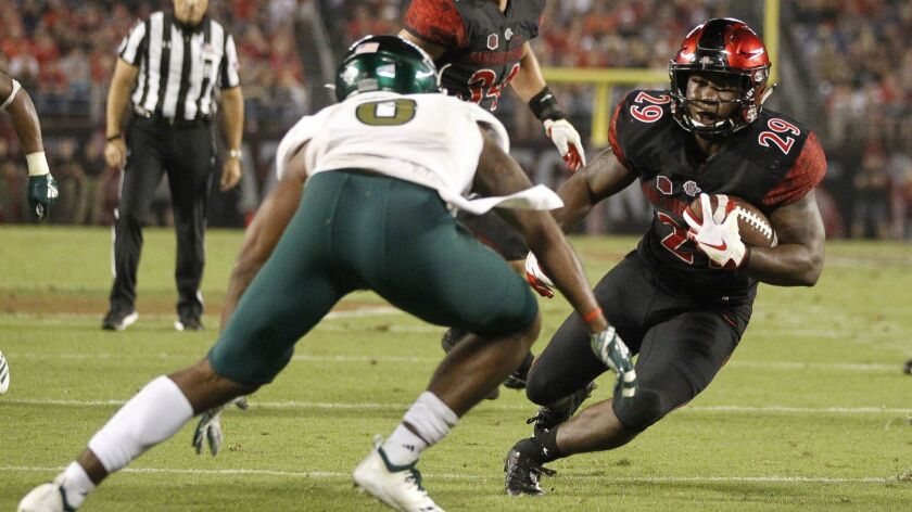 San Diego State's Juwan Washington is one of just three SDSU running backs to rush for at least 150 yards in each of the season's first two games.