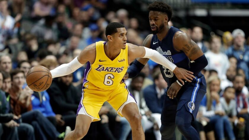Lakers guard Jordan Clarkson (6) works against Dallas Mavericks' Wesley Matthews in the second half on Saturday.