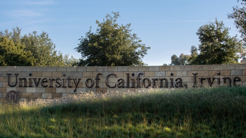 A University of California, Irvine sign