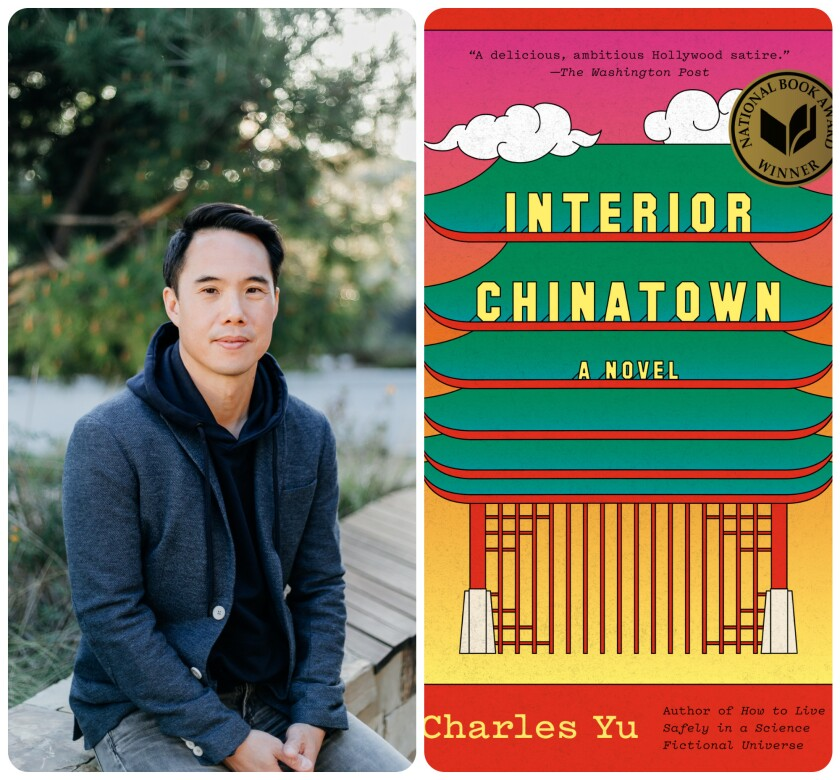 """On the left, Charles Yu. On the right, the cover of his book """"Interior Chinatown"""""""