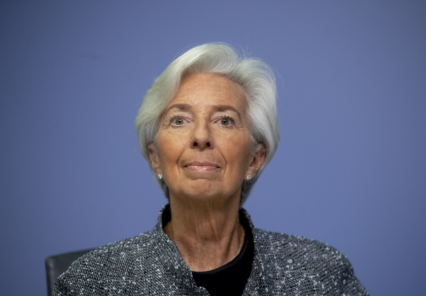 Christine Lagarde, the president of European Central Bank